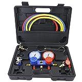 Herramienta de diagnóstico de aire acondicionado Manómetro Set de manómetro medidor de presión doble válvula Freon con tubo y gancho para R134A, R12, R22, R410A, R404A