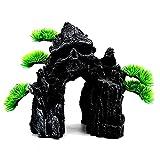 Skull Mountain Aquarium Ornament Decoraciones del tanque de pescado Pequeño terreno Decoraciones de la resina del acuario Decoración del castillo de la resina para el reptil de (Skull Mountain),B