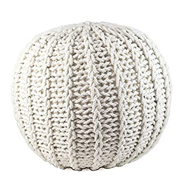 GRAN Cotton Pouf Ottoman Foot Stool & Rest - 18  Diameter 14  Height - White - Round Hand Knit Floor Footstool for Living Room, Bedroom and under Desk