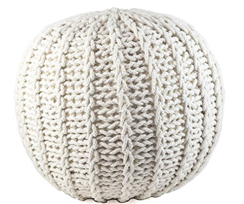 GRAN Cotton Pouf Ottoman Foot Stool & Rest - 18' Diameter 14' Height - White - Round Hand Knit Floor Footstool for Living Room, Bedroom and Under Desk