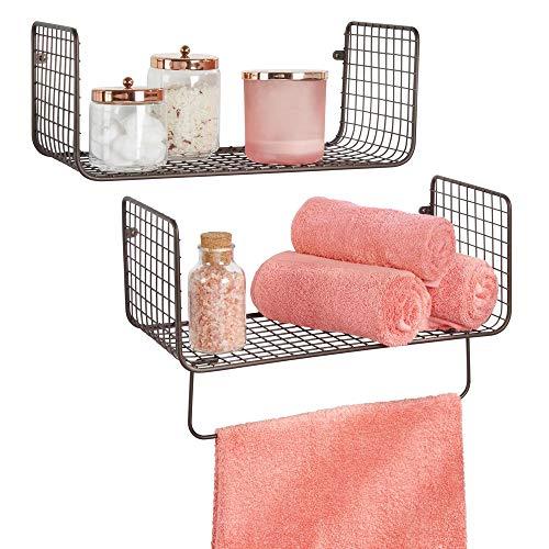 mDesign Wandregal – vielseitig verwendbares Metallregal für Badezimmer, Garage oder Waschküche – zweiteiliges Set mit Handtuchstange – bronzefarben
