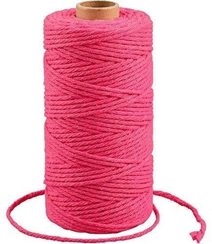 G2PLUS 3MM Rose Makrameegarn Baumwollgarn, 100M Baumwollfaden Baumwolle Kordel, 4 Ply Bastelschnur Deko Kordel Bindfäden Perfekt für DIY Kunstgewerbe Gartenarbeit
