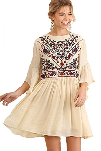 BoHo Bliss! Mandy and Ally Embroirdered Bell Sleeve Dress (large, natural)