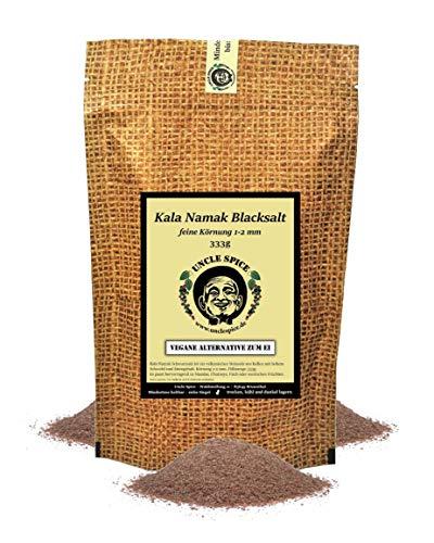 Uncle Spice Kala Namak Salz aus Indien - 333g Schwarzsalz, Original Himalaya Schwarzsalz Blacksalt - Gourmetsalz, Steinsalz, Schwarzsalz als vegane Alternative zum Ei, Geschenkidee