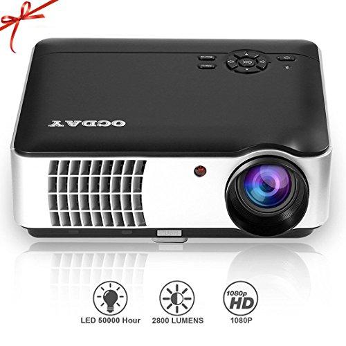 OCDAY Projektor HD 1080P 2800LM 1280* 800Pixel Schnittstelle HDMI-Eingang 1/HDMI 2/USB1/USB2/AV/VGA/YPbPr, das System der spanischen Unterstützung mit Fernbedienung (rd-806a)