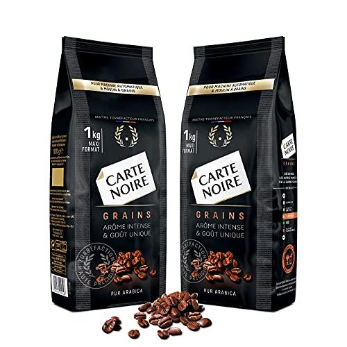 Carte Noire Café en Grains Classique, Pur Arabica, Torréfiés en France, 2 Paquets de 1 kg