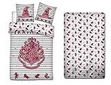 AYMAX S.P.R.L. Harry Potter - Juego de funda nórdica de 140 x 200 cm + funda de almohada + sábana bajera de 90 x 190 cm Hogwarts
