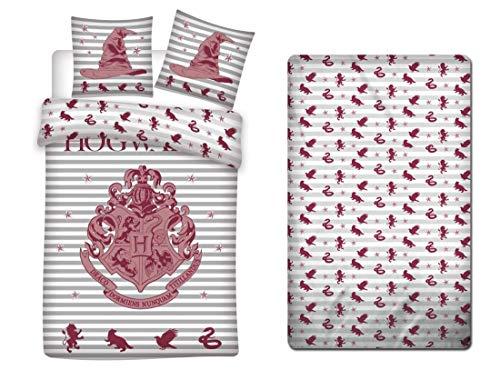 Harry Potter Parure de Lit 3 Pièces - Housse de Couette 140x200 cm + Taie d'oreiller + Drap-Housse