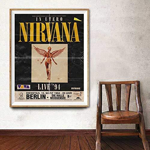Imprimir en lienzo 50x70cm Nirvana 1994 In Utero gira de conciertos im