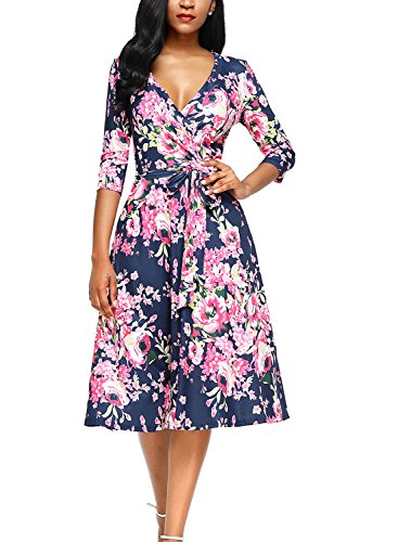 Alvaq Women Eleant V Neck Floral Print Midi Dresses Ladies A Line Knee Length Maternity Swing Dress Casual, Rose 2, Large