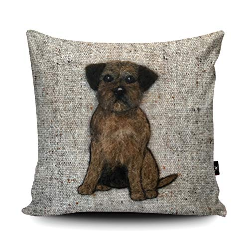Sharon Salt Border Terrier - Cojín de ante artificial con fibra interior (45 x 45 cm)