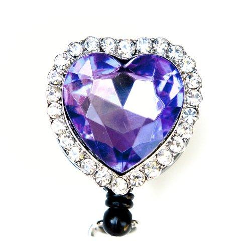 Colorful Diamond Heart Rhinestone Retractable Badge Reel/ID Badge Holder (Purple)