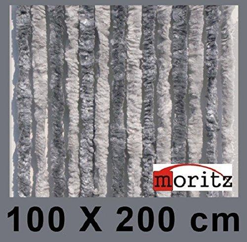 Moritz Flauschvorhang aus Chenille 100 x 200 cm hellgrau grau Türvorhang als Fliegenschutz Insektenschutz für Camping Wohnwagen