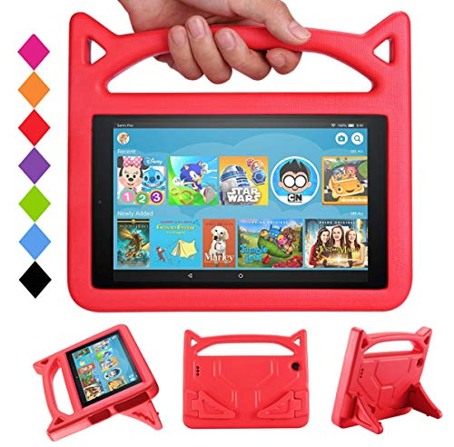 Case for Fire HD 10 Tablet - Mr. Spades Light Weight Shock Proof with Stand Kid Proof Cover(9th/7th Generation - 2019/2017 Release) - Red
