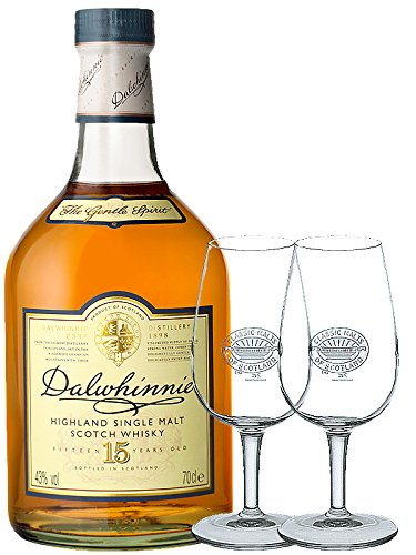 Dalwhinnie 15 Jahre Single Malt Whisky 0,7 Liter+ 2 Classic Malt Whiskygläser