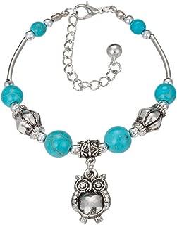 Yazilind Vintage Ethnische Türkis Perlen Einstellbare Armband Schmetterling Eule Naturstein Freundschaft Armbänder Strand Schmuck