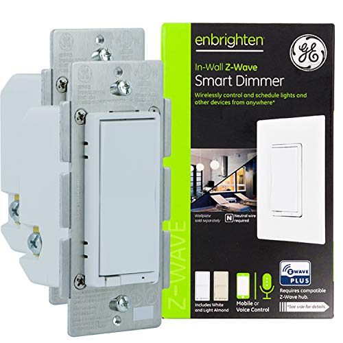 GE Enbrighten Z-Wave Plus Smart Light Dimmer, Works with Alexa, Google Assistant, SmartThings, Wink, Zwave Hub Required, Repeater/Range Extender, 3-Way Compatible, White & Light Almond, 2-pack, 47889