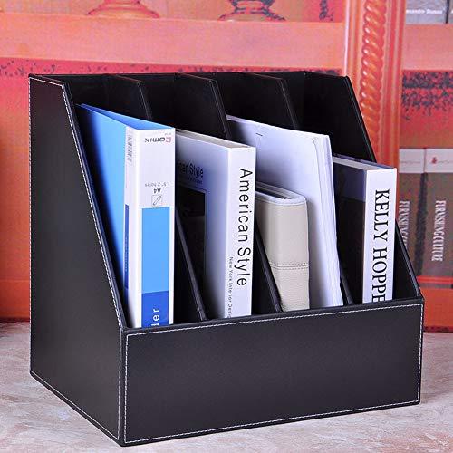 WWJYY Folder organizer, 4 A4 leder en hout puntkomma, A4 formaat, brievenbak of stapelbare brievenbus
