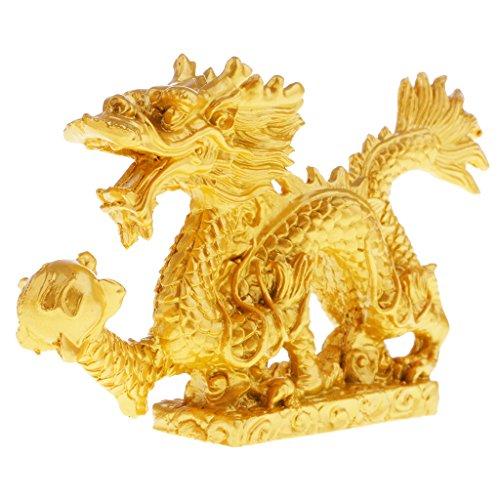 P Prettyia Chinesische Drache Statue Figur Haus Büro Tischdekoration - 12 x 2.3 x 7cm