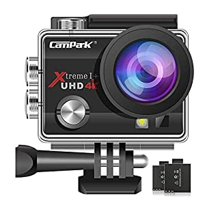 【Lowest Price】 Campark ACT74 Action Camera 4K Ultra HD WiFi Underwater Waterproof Camcorder with 170° Adjustable Wide-Angle 4X Zoom 2 Batteries and Accessories Kits