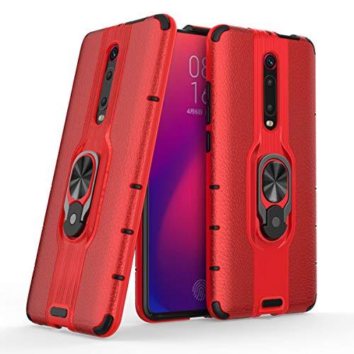 MSK Funda para Xiaomi Mi 9T, funda híbrida de doble capa a prueba de golpes, ultra fina carcasa trasera antiarañazos, soporte giratorio 360 compatible con Xiaomi Mi 9T/Xiaomi Mi 9T Pro,Rojo