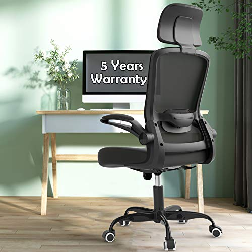 Office Chairs Clearance, Ergonomic Desk Chair with Adjustable Lumbar Support, Headrest and Seat Height, High Back Mesh Computer Chair with Flip-up Armrests - 300lb Weight Capacity Task Chairs