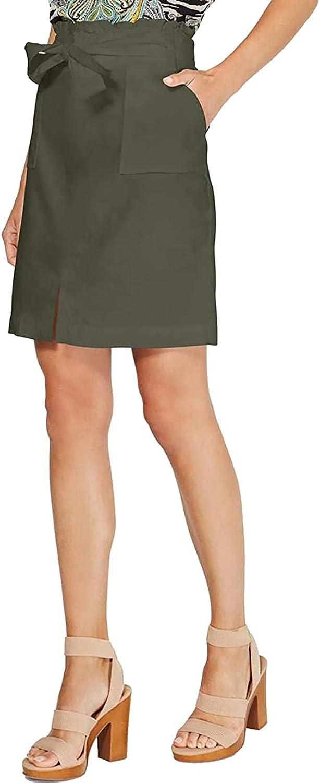 INC Women's Paperbag-waist Belted Linen Blend Straight, Pencil Skirt