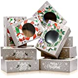 Christmas Cookie Boxes - Bulk 12 Pack Kraft - Large Holiday Christmas Food, Bakery Treat Boxes with Window, Candy and Cookie Boxes for Gift Giving - Kraft Packaging Containers & Tins with Lids