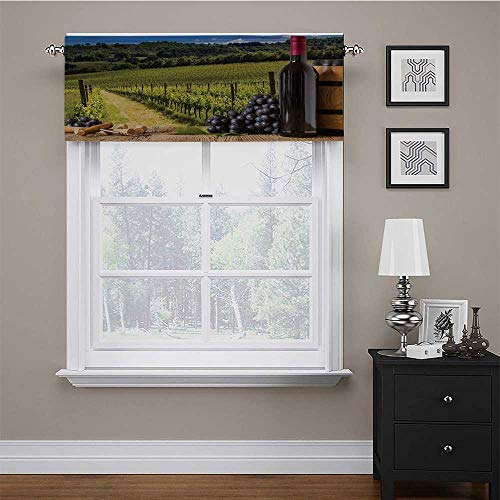 """carmaxs Curtains for Kitchen Winery Lined Scallop Valance Red Wine Bottles with Grapes on Timber Board Tuscany Italian Terrace Scenery 56"""" x 14"""" Green Blue Brown"""