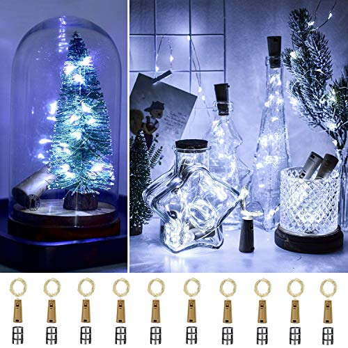 [10 Pack with 30 Spare Batteries] Ooklee Bottle Lights, 2m 20 LED Cork Light for Wine Bottles, Copper Wire Fairy String Lighting for Home Table Party Wedding DIY Garden Gin Jar Decoration(Cold White)
