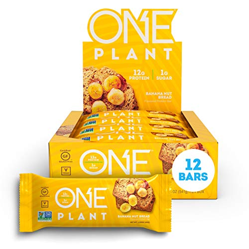 ONE Plant Protein Bars Gluten Free Protein Bars with 12g Protein & Only 1g Sugar, Guilt-Free Snacking for High Protein Diets (Banana Nut Bread)
