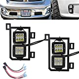 4x 3 inch 18W LED Fog Light Pods with Plug Wiring Kit & Front Lower Hidden Bumper Mounting Bracket Compatible with 2013-2018 Dodge Ram 1500