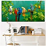HSFFBHFBH Cuadro de Pared Impresión artística Loro Pájaro en Ramas Pintura de Paisaje de Madera en Lienzo Cartel para Sala de Estar Cuadros Decoración 50x120cm (19.7'x47.2) Sin Marco