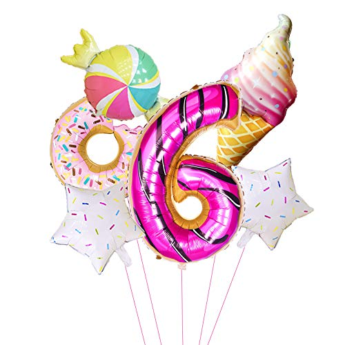 XIAOYAN Balloon 6pcs/lot Donut Birthday Party 42 Inch Digital Foil Balloon set for happy birthday decor 1st birthday decor girl favor balloon (Color : 6pcs Digital 6)