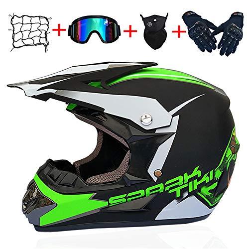 MOLINGXUAN Motocross Helm Männer und Frauen-Batterie-Auto Helm Berg Motorrad Vollvisierhelm DH Downhill Helm,C,S