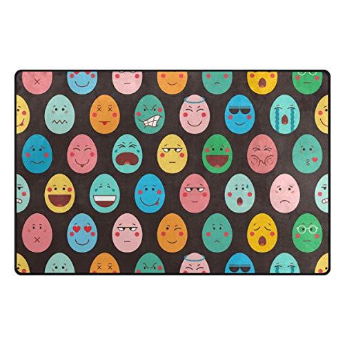 Uovo di Pasqua Colorato Emoji 60 x 39 pollici Tappeti Zerbini Montare Tappetino Antiscivolo Decorativo per la casa Camera da letto Soggiorno Tappeti