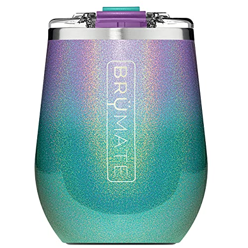 BrüMate Uncork'd XL 14oz Insulated Wine Glass Tumbler With 100% Leak-Proof Lid - Made With Vacuum Insulated Stainless Steel (Glitter Peacock Violet Ombre)