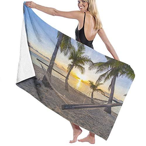 Grande Suave Ligero Microfibra Toalla de Baño Manta,Playa paraíso Tropical al Atardecer con Hamaca,Hoja de Baño Toalla de Playa por la Familia Hotel Viaje Nadando Deportes,52' x 32'