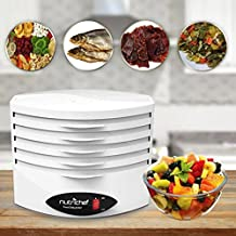Electric Countertop Food Dehydrator Machine - 5-Tray Professional Electric Multi-Tier Hanging Food Preserver, Meat or Beef Jerky Maker, Fruit or Vegetable Heat Circulation Dryer - NutriChef