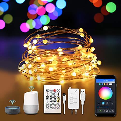 Alexa Micro Led Lichterkette Bunte mit Timer, Funkeleffekt Drahtlichterkette Farbwechsel Dimmbar Fernbedienung App Gesteuert, 10m Kupferdraht USB Strombetrieben für Innen Zimmer Schlafzimmer Deko