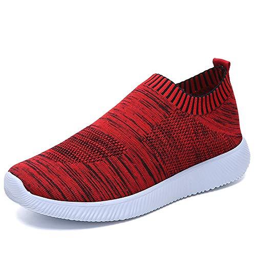 JXILY Zapatillas de Mujer Deporte Planas de Malla Transpirable Zapatos Casuales de Zapatos de Malla Aire Libre para Mujer Slip en Suelas cómodas Running,Rojo,39