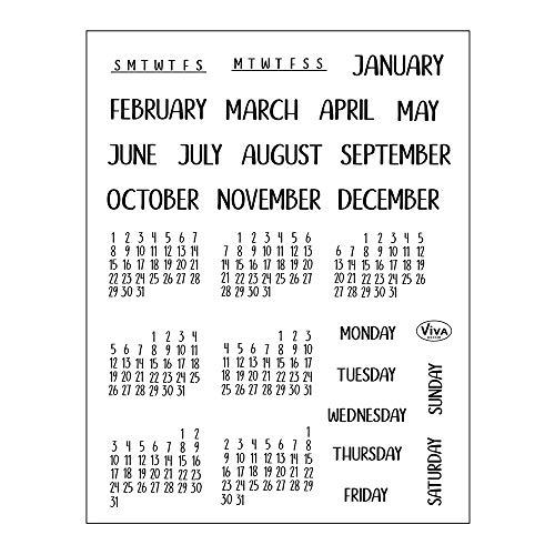Viva Decor®️ Clear-Stamps (Bujo-Kalender Monate & Tage I) Silikon Stempel - Prägung Stempel - DIY Dekoration stanzen - Stempel Silikon - DIY Stamp - Stempel Prägung - Made in Germany