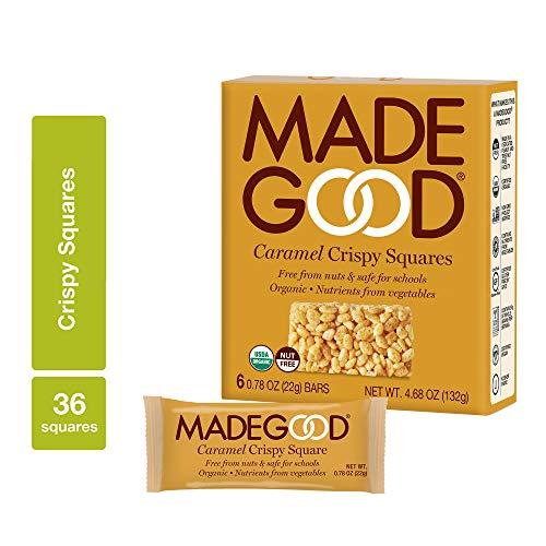 MadeGood Caramel Crispy Squares, Gluten Free & Safe For School Snacks, 36 Count