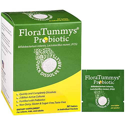 FloraTummys Probiotic Quick Dissolve Tablets for Adults, Kids, and Infants. Non-Dairy, Gluten Free, Sugar-Free, Taste-Free. Bifidobacterium infantis, Lactobacillus Reuteri, Prebiotics