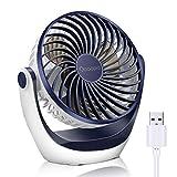 OCOOPA Ventilador con USB, Ventilador de mesa con fuerte flujo de aire y silencioso, ventilador portátil con velocidad ajustable, 360°, Escritorio y escritorio de oficina, Zafiro