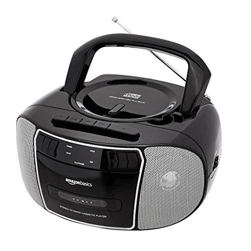 Amazon Basics tragbarer Stereo-Radiorekorder mit CD-Player, FM-Radio, Kassettenrekorder, LED-Bildschirm und 3,5-mm-AUX-Eingang, schwarz (EU-Stecker)