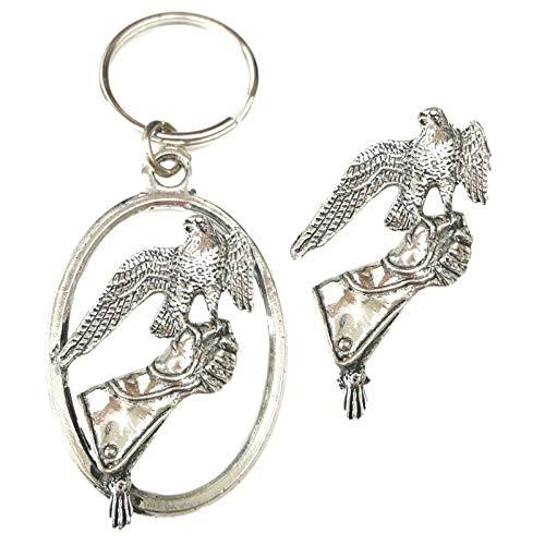 Emblems-gifts Falcon- Handschuh Schlüsselring und Anstecker Verpackt Geschenkset Handgefertigt in Massiver Zinn+59mm Knöpfe Abzeichen