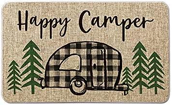 Artoid Mode Buffalo Plaid Happy Camper Decorative Doormat, Seasonal Spring Summer Holiday Low-Profile Floor Mat Switch Mat for Indoor Outdoor 17 x 29 Inch