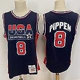 XFKL American Michael Jordan Basketball Jersey No. 8 No. 9 Mitchell and Ness Basketball Home 1992 Dream Team Jersey-Azul Marino Camiseta Bordada Transpirable,A8,S