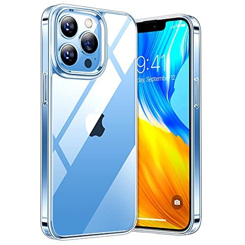 TORRAS Diamond Series Kompatibel mit iPhone 13 Pro Max Hülle Transparent (Vergilbungsfrei) Stoßfeste Kratzfest Hülle Hard PC Back & Soft Silikon Handyhülle iPhone 13 Pro Max (6,7 Zoll) -Durchsichtig